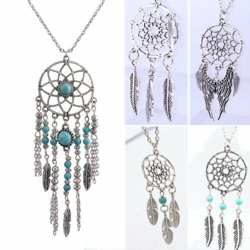 Fashion Retro Dream Catcher Feather Charm Chain Choker Pendant Necklace Jewelry
