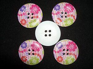 10 Stück Holzknöpfe 3cm Knöpfe Holz Knopf Nähen Basteln Natur 4 Löcher Blumen