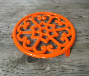 Dessous-de-plat-rond-orange-en-fonte-Vintage-19cm