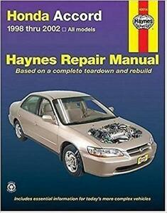 haynes honda accord 98 02 dx ex v6 lx se vp owners repair manual rh ebay ie haynes repair manual honda accord 2003 thru 2007 pdf haynes honda accord repair manual