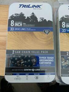 "2 Pack TriLink 8/"" S33 Chain Homelite Hyper Tough Greenworks Earthwise Pole saws"