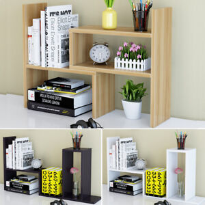 New Diy Wood Book Rack Holder Shelf Storage Bookcase Desk Stand