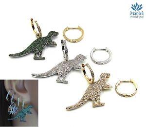 Orecchini asimmetrici da donna cerchio dinosauro zirconi cerchietti mini hoop