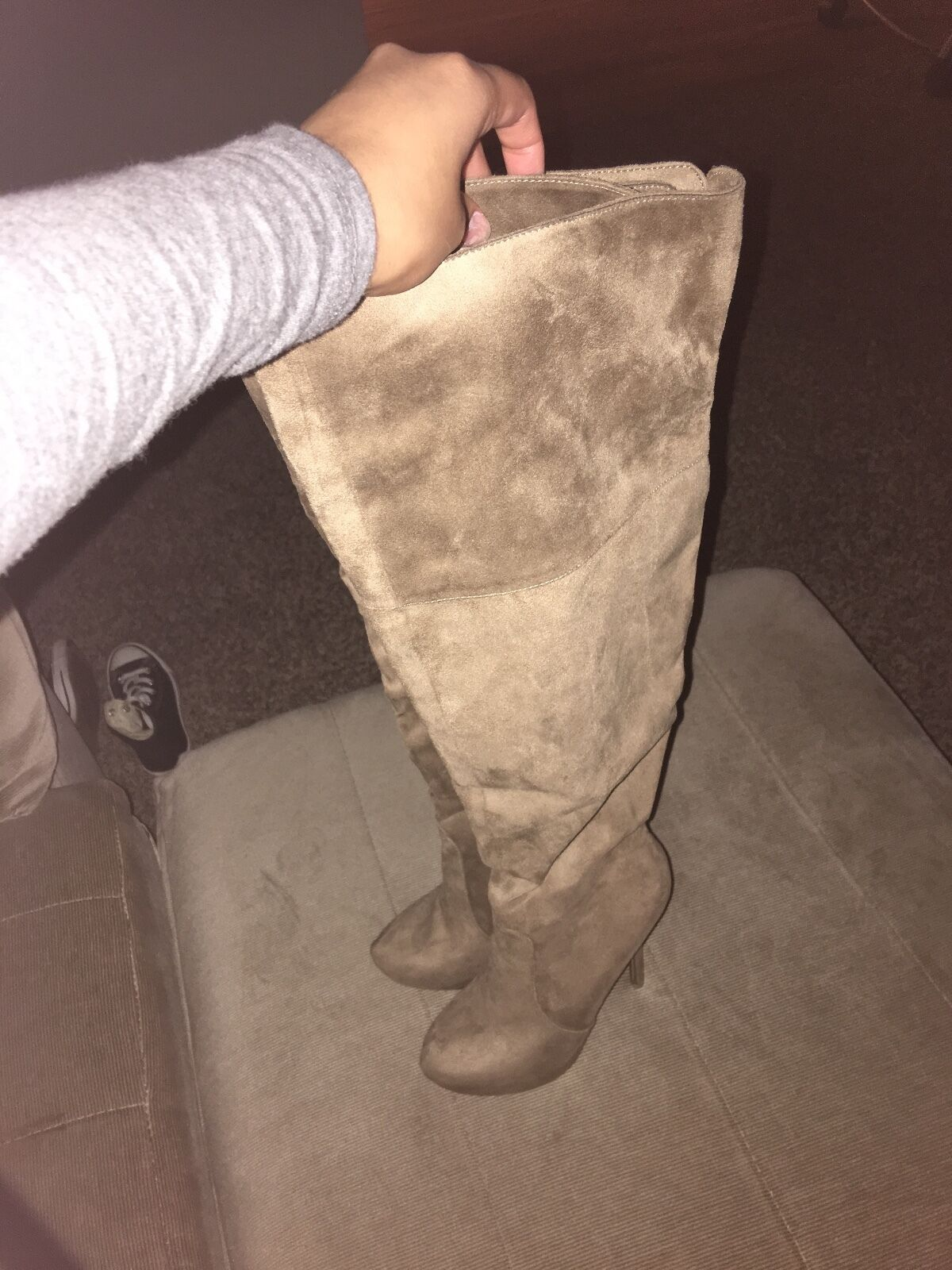 Suede over the knee taupe boots size 6.5