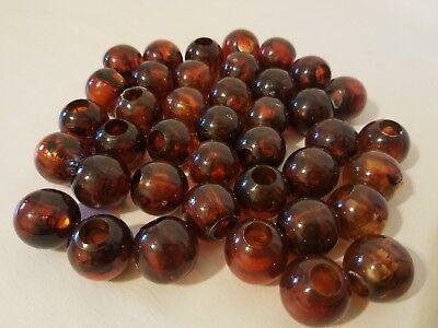 "Lot of 40 Copper Marbella Plastic Acrylic Round Macrame Craft Beads 22mm 7//8/"""