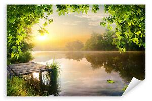 Postereck-Poster-2645-Steg-am-See-Sonnenaufgang-Natur-Landschaft-Wasser
