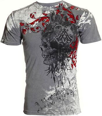 Archaic AFFLICTION Mens T-Shirt KINGDOM Skull Tattoo Biker Gym MMA UFC M-4XL $40