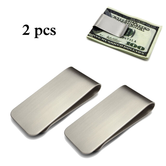 2 PC Stainless Steel Slim Money Clip Cash Credit Card Metal Pocket Holder