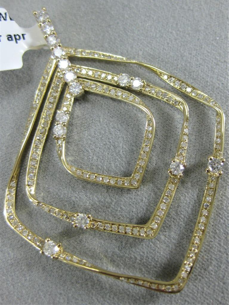 MODERN 1.13CTW DIAMOND 14K YELLOW gold PAVE TWISTED SQUARES PENDANT 49M P58783YP