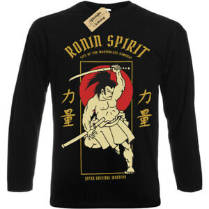 Antico-Eroe-T-Shirt-Samurai-Ronin-Spirit-Giapponese-da-Uomo-Manica-Lunga