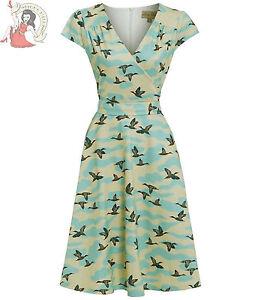 LINDY-BOP-DAWN-MALLARD-duck-40s-50s-vintage-style-TEA-DRESS-BLUE-CREAM
