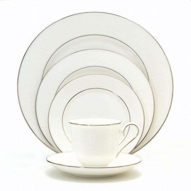 Set of 2 Hannah Platinum Dinner Plates,Lenox China,Debut Vintage White China,Replacement Lenox China