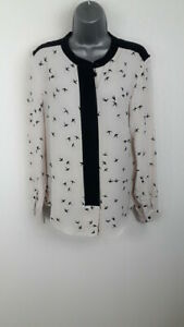 WOMENS-NINE-WHITE-BLACK-LONG-SLEEVED-SHIRT-BLOUSE-CASUAL-BUTTON-UP-SIZE-UK-14