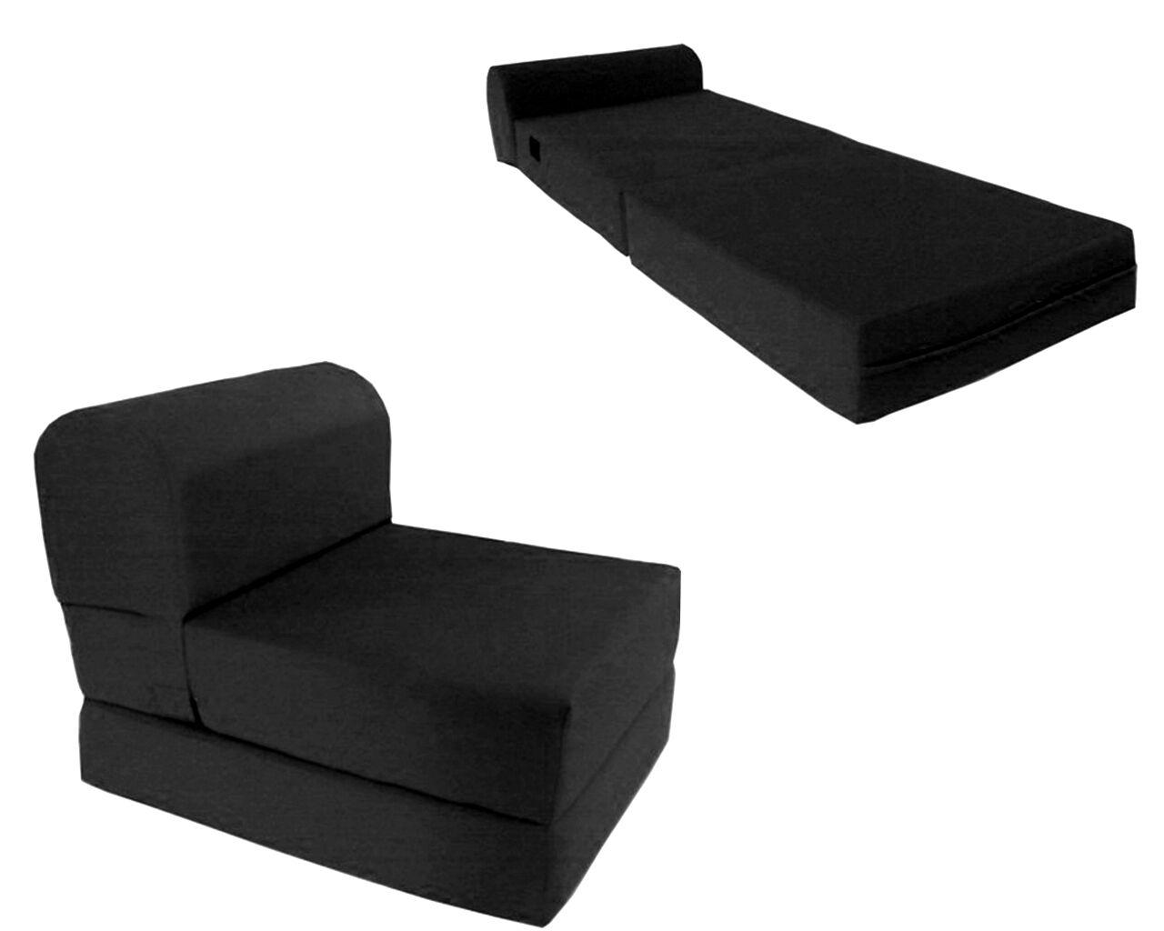 """Black Twin Size Wide Sleeper Chair Folding Foam Bed 70""""x36""""x5"""""""