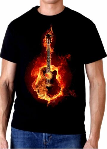 """Acoustic /""""Fire/"""" Guitar T Shirt 100/% Cotton Tee by BMF Apparel"""