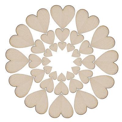 50/100/200XWooden Love Heart Shape for Weddings Plaques Art Craft Embellishment