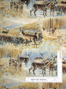Wild-Wings-Deer-Buck-Wilderness-Scenic-Cotton-Fabric-Springs-CP31278-By-The-Yard