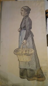 Ecole-FRANCAISE-XX-GRAND-DESSIN-CRAYON-PORTRAIT-FEMME-PAYSANNE-AQUARELLE-1900