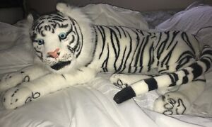 VTG-WHITE-TIGER-BLUE-EYES-WILDCAT-Stuffed-Plush-ANIMAL-Kelly-Toy-40-034-Tiger-King