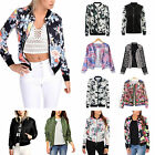 Womens Floral Classic Bomber Jacket Ladies Vintage Zip Up Biker Coats Outwear