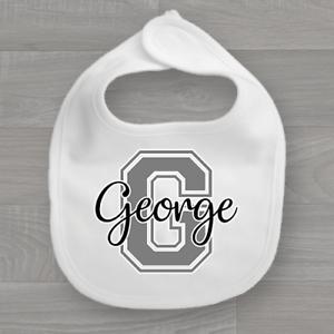 Unisex Feeding Dribble Muslin Baby Bib Personalised Baby/'s Name /& Initial