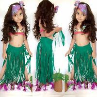 Kids Girls Bikini Swimwear Hawaiian Hula Costume Tassels Skirt Swimsuit 3PCS set