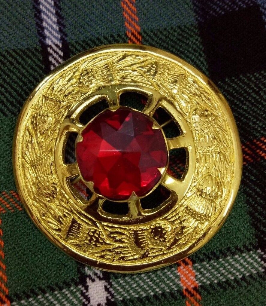 New Scottish Kilt Fly Plaid Brooch Red Stone Gold Finish Celtic Pin & Brooches