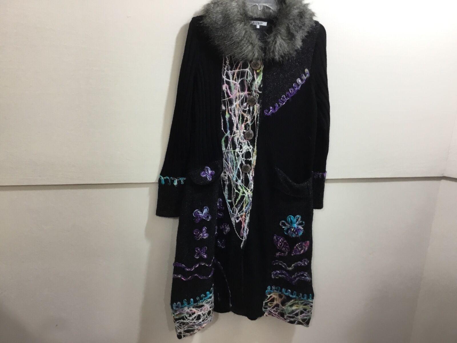 Ladies size large gorgeous designer faux fur collared sweater coat