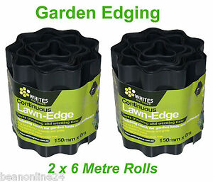 12 metres x 150mm BLACK Garden Edging Fluted Plastic Border Edge
