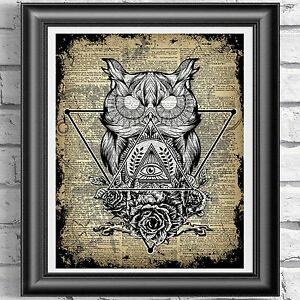 Dictionary-Page-Art-Witchcraft-Owl-PRINT-Vintage-ANTIQUE-Book-Wall-art-Picture