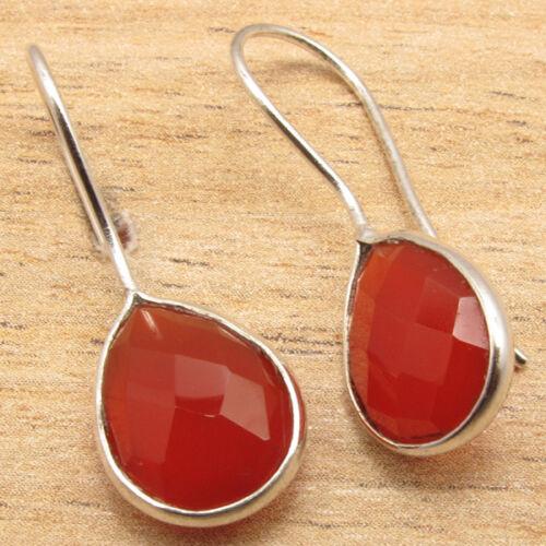 925 Silver Overlay Naturel Rouge Cornaline disque Fashion Boucles d/'oreilles Bijoux Beaucoup de choix