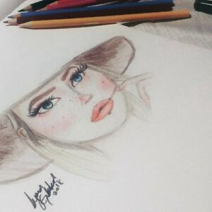Details About Pencil Art Youtuber Colored Pencil Drawing Portrait Beautiful Lady Blonde