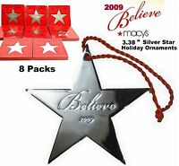 Macys believe 2009 Holiday Ornaments 3.38 Silver Star - 8packs