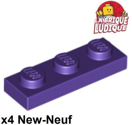 4x Plate Flat 1x3 3x1 Violet//Dark Purple 3623 New Lego