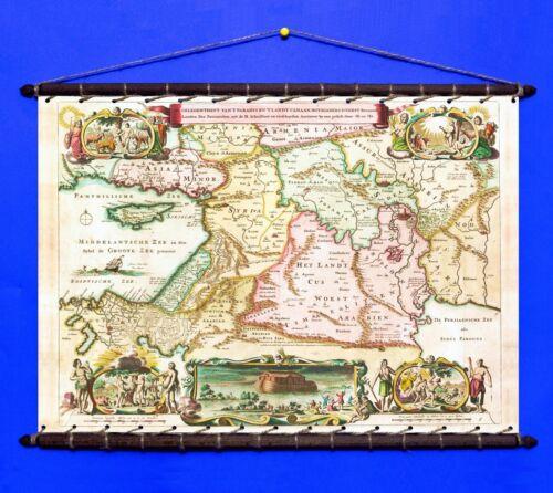 Antique Biblical Map Of Holy Land Eden 1690 Canvas Vintage Wooden Frame Hanger