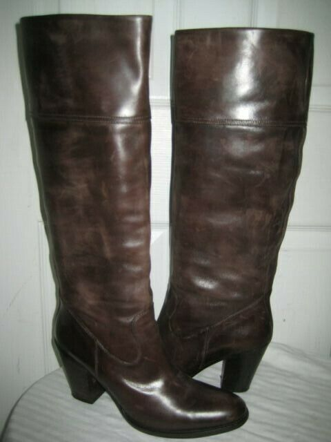 TREMP Leather  Knee High Heel Boots shoes Women's Size 40   9.5 Made In ITALY.