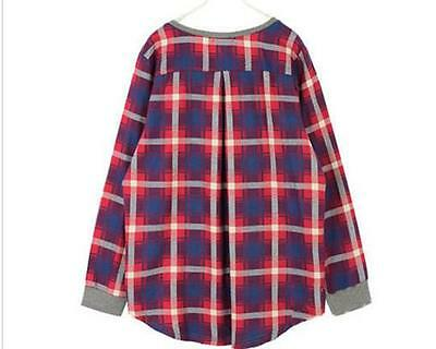 Women Lady Plaid Checked Long Sleeve Casual Loose T shirt Tops Blouse