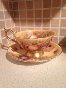 Aynsley-Orchard-Gold-Cup-And-Saucer-Signed-N-Brunt