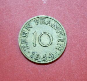 Allemagne-sarre 10 Francs 1954 #f 2928 Km # 1-arland 10 Franken 1954 #f 2928 Km# 1 Fr-fr Afficher Le Titre D'origine