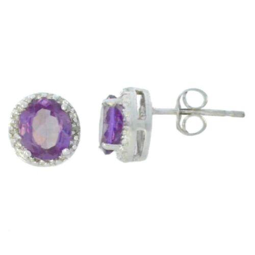 2 ct Alexandrite /& Diamant Clous d/'oreilles ronds 14Kt or blanc