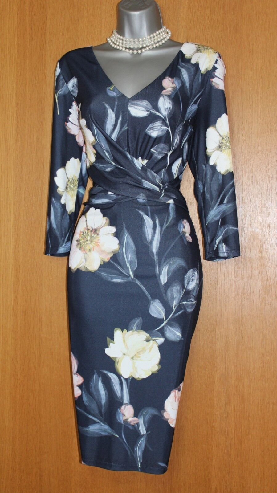 Phase Eight Marina Floral Print 3 4 Sleeves Jersey Jersey Jersey Casual Work Dress UK10 EU38 fe7a42