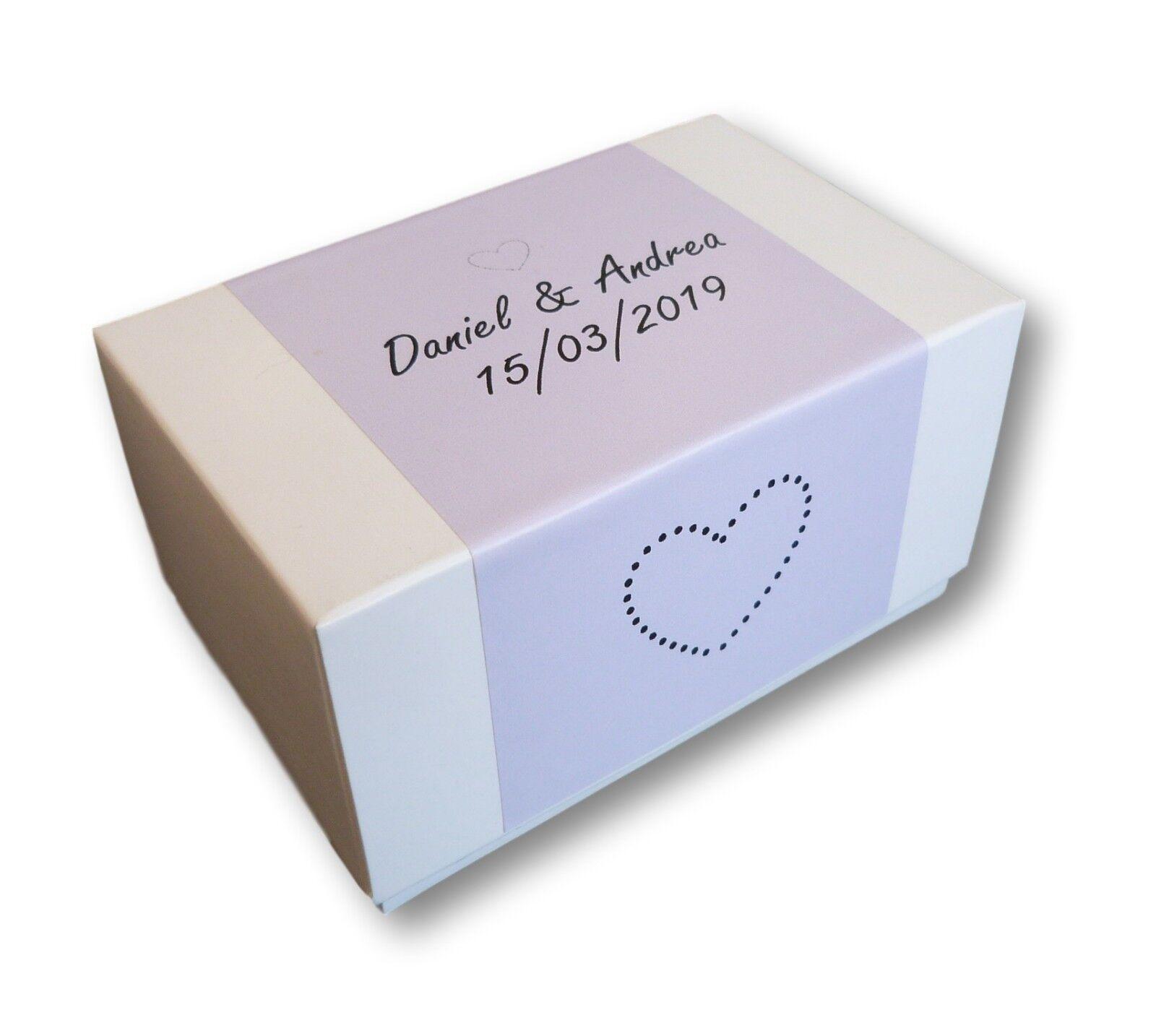 100 X ETICHETTE LILLA BIANCO BOX, Matrimonio, Torta di compleanno, scatole, su misura personalizzata