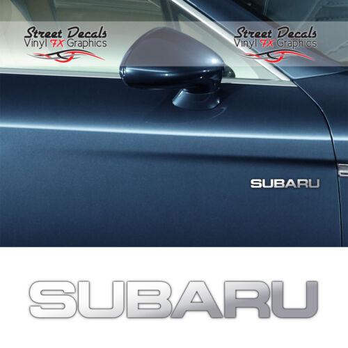 SUBARU CHROME VINYL CAR DOOR//SIDE DECALS STICKERS GRAPHIC ADHESIVE X2-7YR VINYL