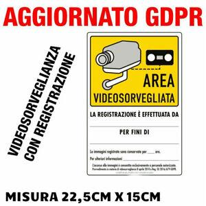 """2 Etiquetas Adhesivas """"Area Vídeo bajo la Supervisión """"Seguridad A Norma Gdpr Ue"""