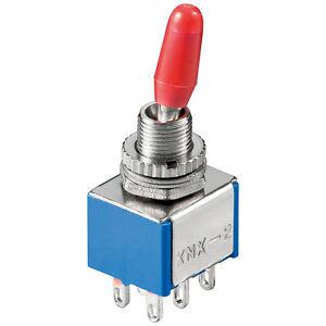 S468-10-Stueck-Miniatur-Kippschalter-2xUM-6-polig-EIN-EIN-oder-AUS-EIN