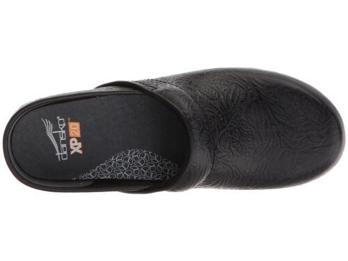 Dansko XP 2.0 BLACK FLORAL TOOLED Womens Leather Slip Resistant Clogs Shoes