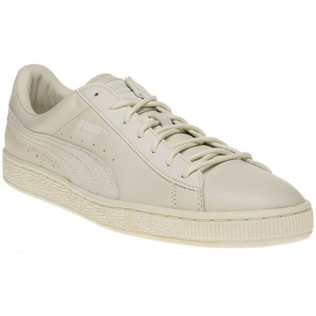 New Mens Puma Natural White Basket Classic Citi Leather Trainers Retro Lace Up