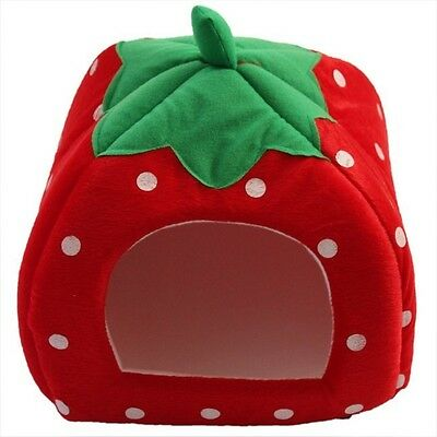 Newest Strawberry Pet Dog Cat Bed House Kennel Doggy Fashion Cushion Basket - DD