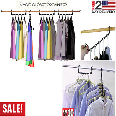 10 pcs Wonder Hanger Max Closet Space Saving Magic Hangers Rack Shirts Clothes