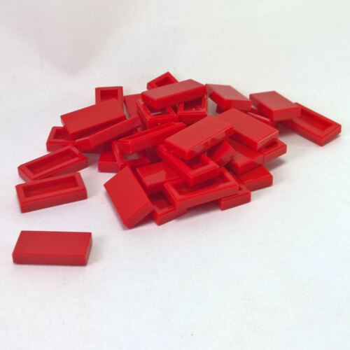 35 NEW LEGO Tile 1 x 2 with Groove Red